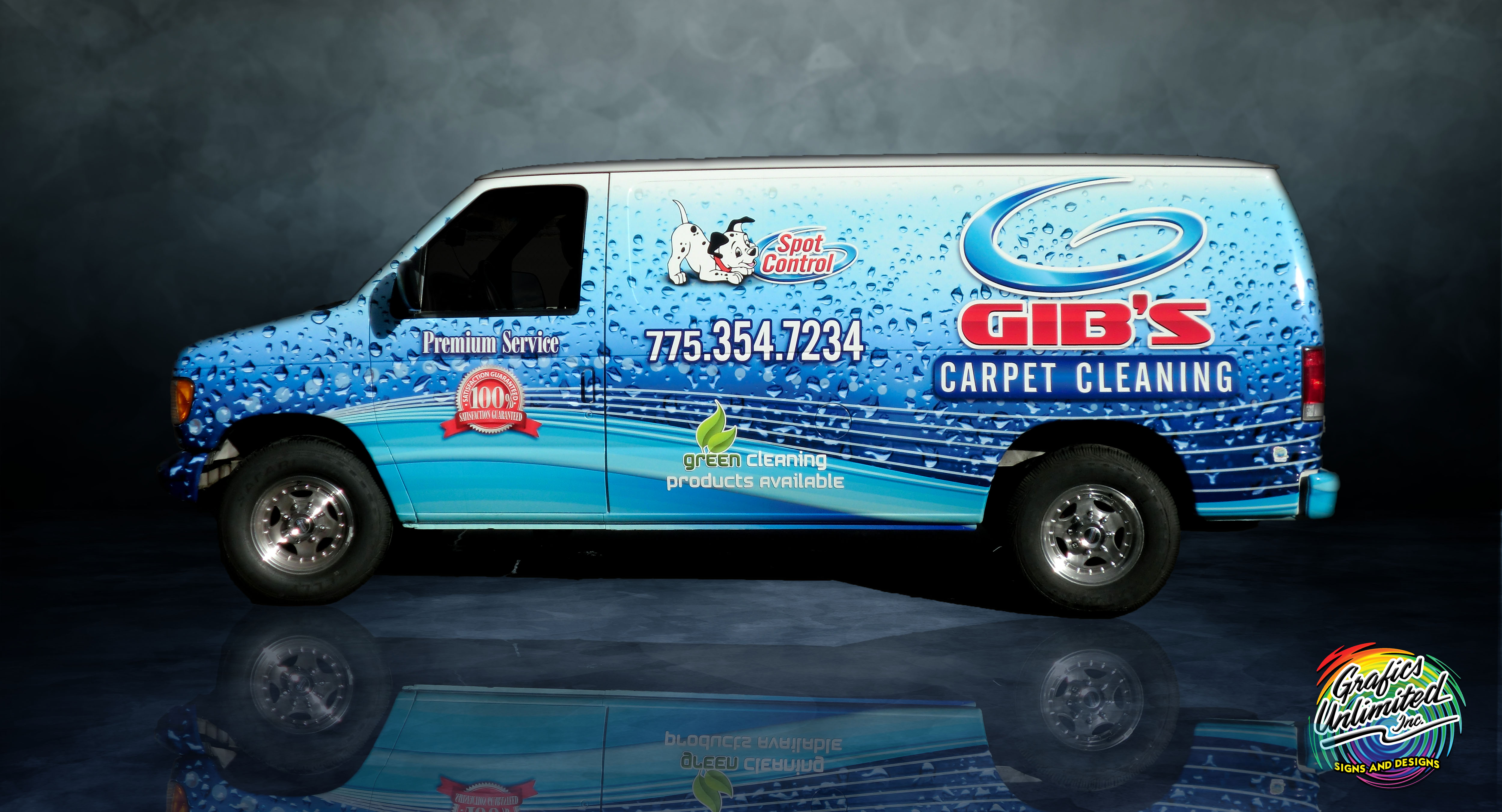 vehicle wrap image of van with wrap advertisement